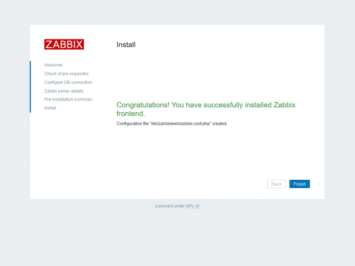 Finish install Zabbix server
