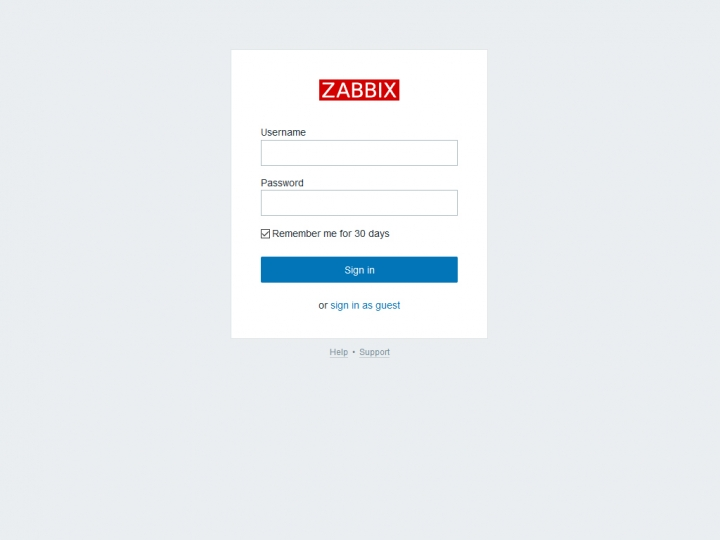 Login Zabbix server