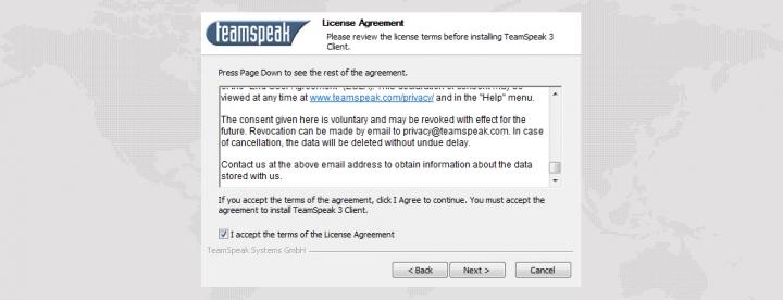Лицензионное соглашение TeamSpeak