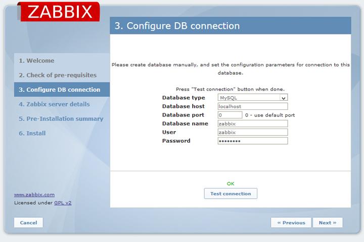 Укажите информацию для подключения к базе данных