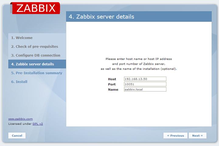 Введите подробные сведения о сервере Zabbix.